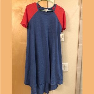 Red and blue heather Lularoe Carly